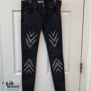 Free People Dotted Ikat black skinny jeans size 25